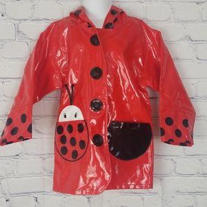 Kidorable red ladybug raincoat with hood